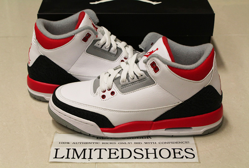 premium selection db33b bfe6c Details about NIKE AIR JORDAN 3 III RETRO GS FIRE RED WHITE 398614-120  cement black blue iv xi