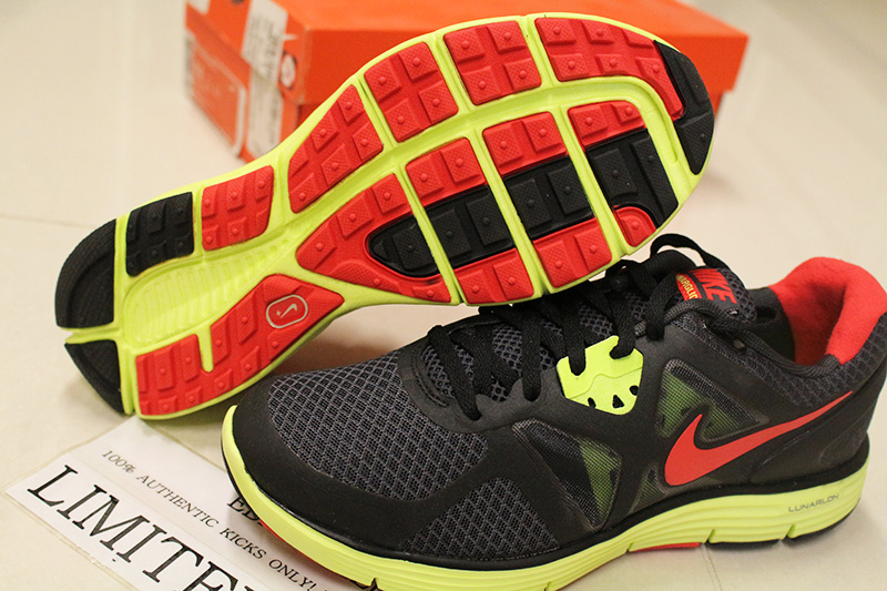 more photos c4c19 a94ab NIKE LUNARGLIDE+ 3 ANTHRACITE RED NEON GREEN 454164-016 VOLT city breathe  blue   eBay