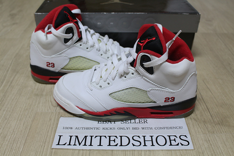 preview of 2018 sneakers quality NIKE AIR JORDAN V 5 RETRO GS WHITE FIRE RED 134092-162 US 3.5Y ...