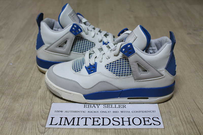 low priced 855ab cdf12 Details about NIKE AIR JORDAN 4 IV RETRO GS WHITE MILITARY BLUE 308498-141  US 6Y pure money