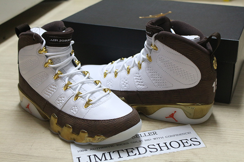 da906544f29b6e NIKE AIR JORDAN 9 IX RETRO MELO MOP NCAA WHITE BROWN GOLD 302370-122 US 7.5  SIZE 91208071923