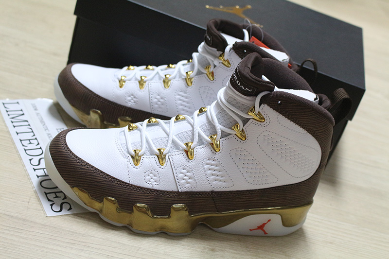 aa01ff02ee6a39 NIKE AIR JORDAN 9 IX RETRO MELO MOP NCAA WHITE BROWN GOLD 302370-122 ...