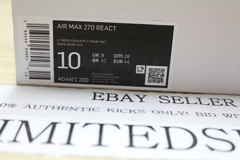 Detalles acerca de NIKE MAX 270 REACT Luz Color Beige AIR ROJO AO4971 200 Bauhaus Jade Ghost Negro Azul mostrar título original