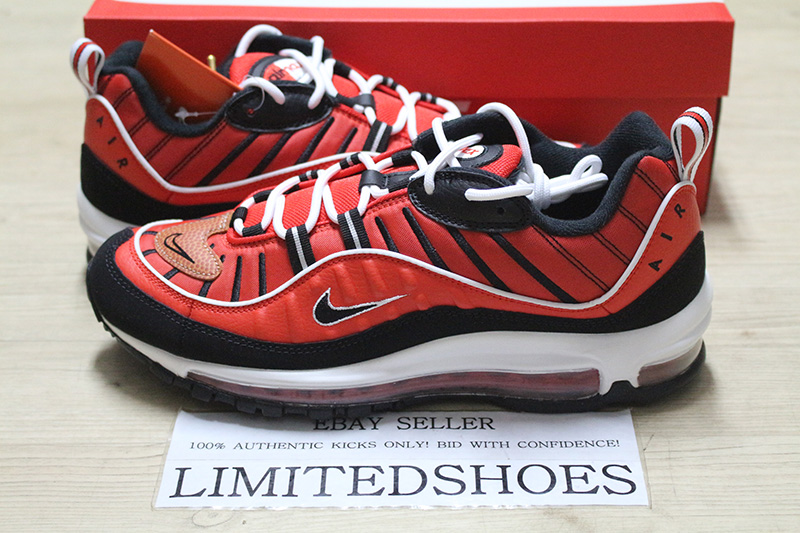 Details about NIKE AIR MAX 98 HABANERO RED BLACK WHITE METALLIC GOLD 640744 604 MENS