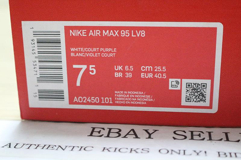 Details about NIKE AIR MAX 95 LV8 WHITE PURPLE GRAPE PYTHON AO2450 101 neon og greedy safari