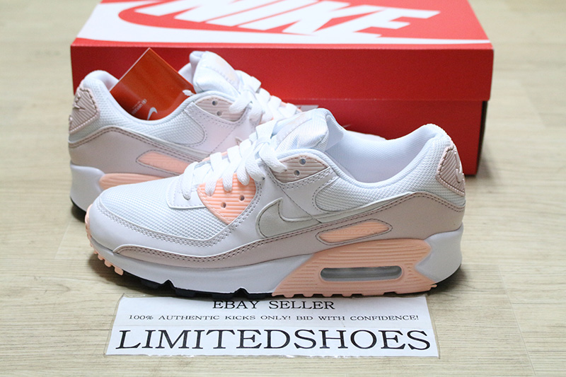 Details about WMNS NIKE AIR MAX 90 WHITE BARELY ROSE PINK PLATINUM TINT  CT1030-101 Womens